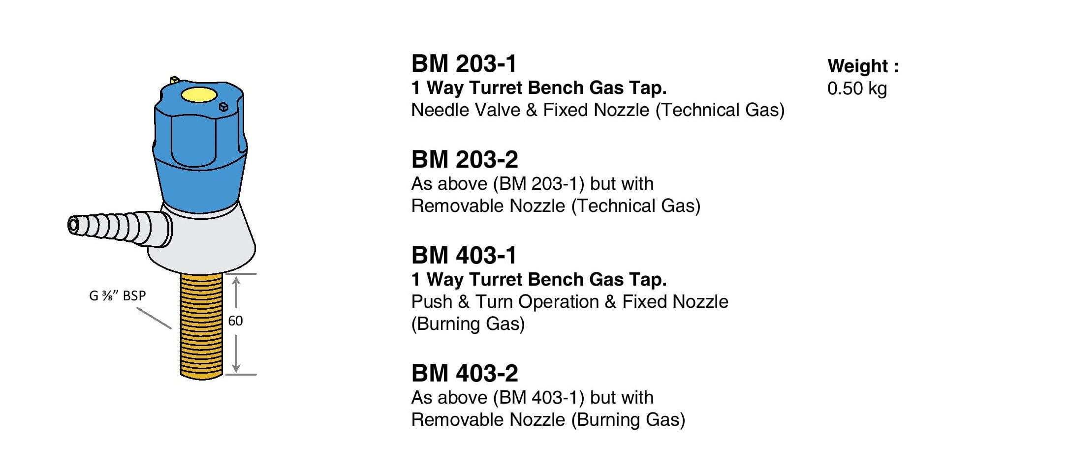 1 Way Turret Bench Gas Tap Drawings