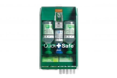 QuickSafe® PLUM First Aid Station BASIC Eyewash & Plaster
