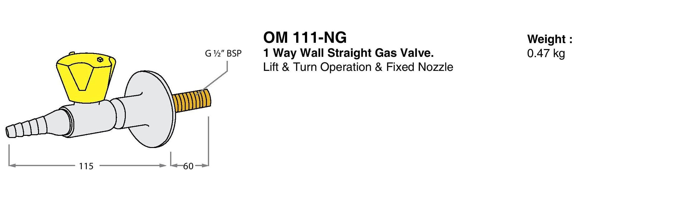 1 Way Wall Straight Gas Valve Drawings