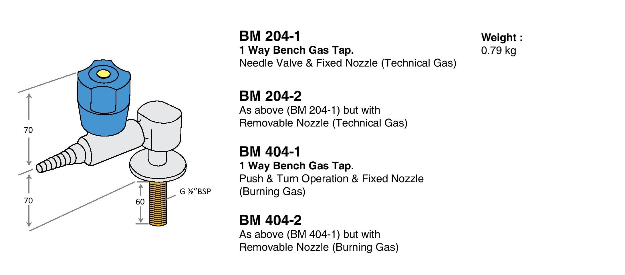 1 Way Standard Bench Gas Tap Drawings
