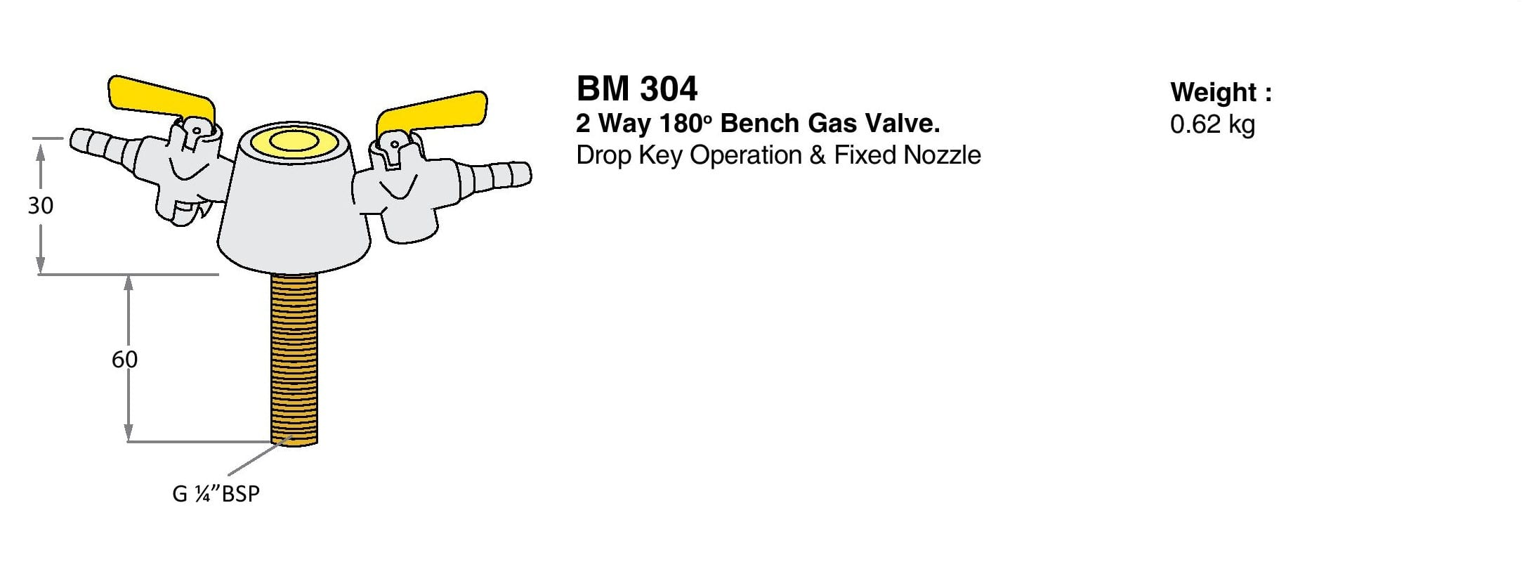 2 Way 180º Bench Gas Valve Drawings