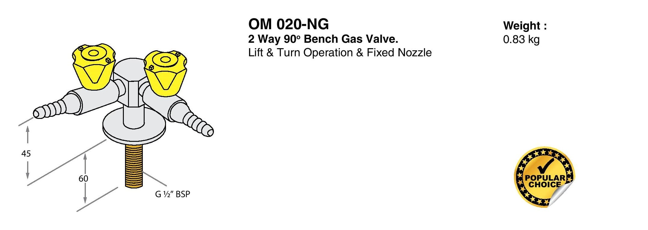 2 Way 90° Bench Gas Valve Drawings