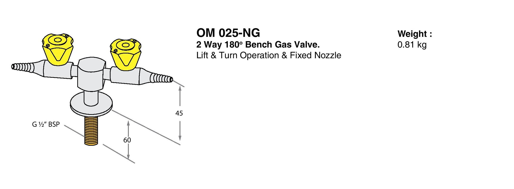 2 Way 180° Bench Gas Valve Drawings