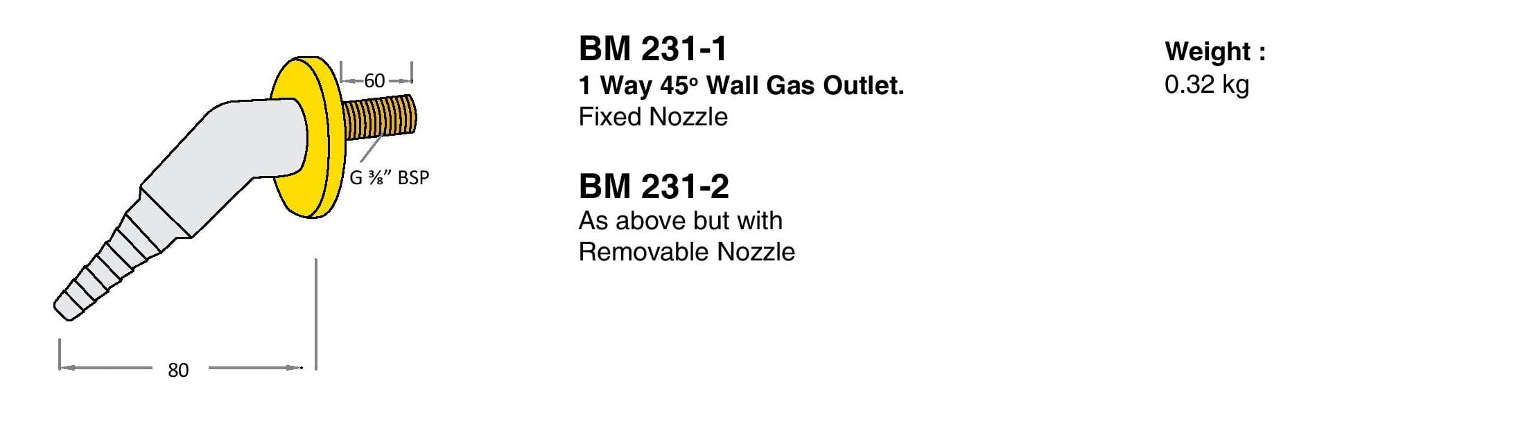 1 Way 45° Wall Gas Outlet Drawings