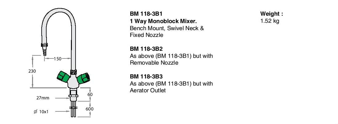 1 Way Monoblock Mixer BM118-3B1 Drawing Description